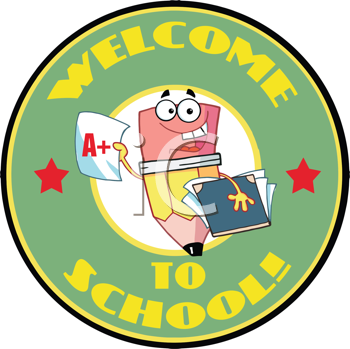 Royalty Free Clipart Image of a Pencil on a Back to School Sticker