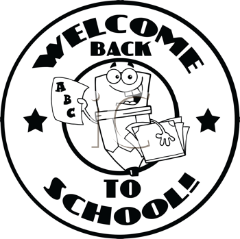 Royalty Free Clipart Image of a Back to School Pencil Holding ABCs and a Report Card