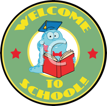 Royalty Free Clipart Image of a Bookworm Back to School