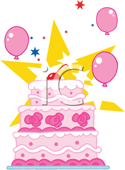 Royalty Free Clipart Image of a Wedding Cake With a Star and Balloons