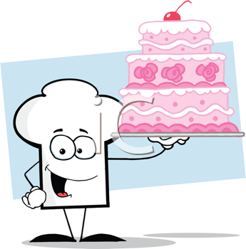Royalty Free Clipart Image of a Chef's Hat Holding a Wedding Cake