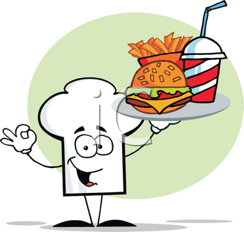 Royalty Free Clipart Image of a Chef Hat Holding Fast Food on a Tray