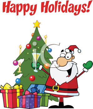 Royalty Free Clipart Image of Santa With a Tree on a Happy Holidays Greeting
