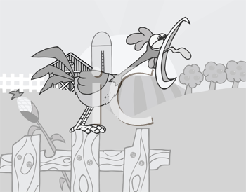 Royalty Free Clipart Image of a Rooster Crowing at the Rising Sun