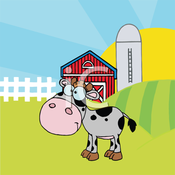 Royalty Free Clipart Image of a Calf in a Pasture