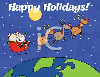 Royalty Free Clipart Image of Santa and His Reindeer Flying Around the Globe