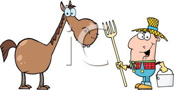 Royalty Free Clipart Image of a Farmer and Horse