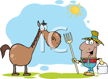 Royalty Free Clipart Image of an African American Farmer With a Horse