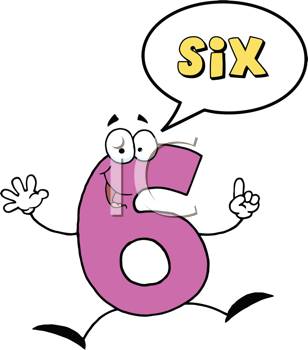 Royalty Free Clipart Image of a Number Six With a Conversation Bubble