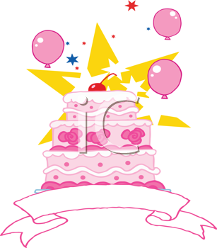 Royalty Free Clipart Image of a Pink Tiered Cake With a Banner