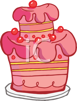 Royalty Free Clipart Image of a Pink Layered Cake