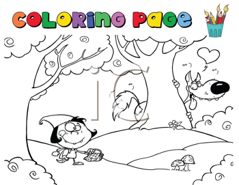 Royalty Free Clipart Image of a Little Red Riding Hood Colouring Page