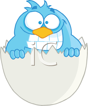 Royalty Free Clipart Image of a Smiling Bluebird in an Eggshell