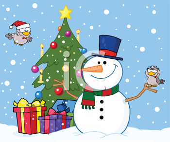 Royalty Free Clipart Image of a Snowman and Birds By a Chrismtas Tree