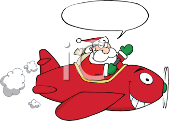 Royalty Free Clipart Image of Santa in an Airplane With a Conversation Bubble
