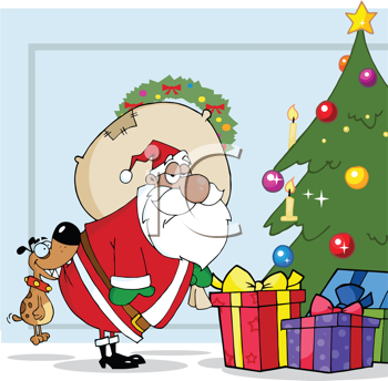 Royalty Free Clipart Image of Santa Delivering Presents and a Dog Biting Him