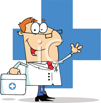 Royalty Free Clipart Image of a Doctor in Front of a Blue Cross