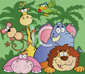 Royalty Free Photo of a Group of Jungle Animals