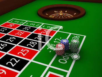 Royalty Free Clipart Image of Chips on a Roulette Table