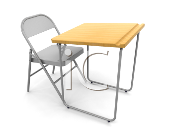 Royalty Free Clipart Image of a Desk and Chair