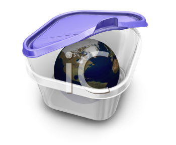 Royalty Free Clipart Image of The World in Tupperware
