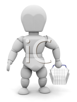 Royalty Free Clipart Image of a 3D Person With a Basket