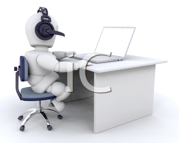 3d render of man using VOIP