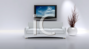 3D render of a sofa in a contemporary interior