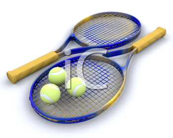 3d render of tennis raquet and balls