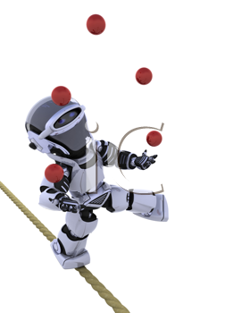 3D render of a robot juggling balls on tight rope