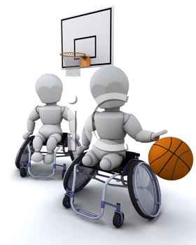 3D render of men in wheelchairs playing basket ball