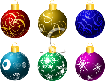 Collection of brightly coloured Christmas baubles
