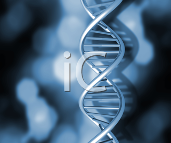 Colourful DNA strands on abstract background