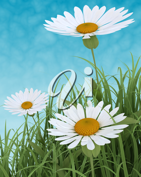 3D render of Spring Flowers in Grass on blue sky