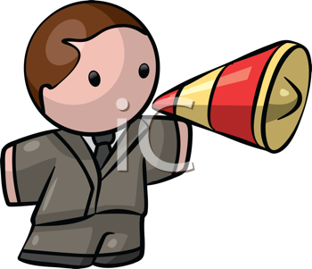 Royalty Free Clipart Image of a Man in a Business Suit With a Megaphone