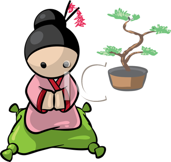 Royalty Free Clipart Image of a Japanese Woman Kneeling on a Pillow