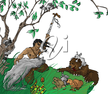 Royalty Free Clipart Image of a Native Surrounded By Animals on a Cliff