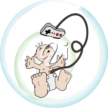 Royalty Free Clipart Image of a Baby With a Remote Control Attached To His Umbilical Cord