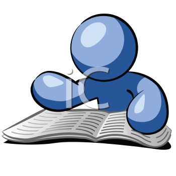 Royalty Free Clipart Image of a Blue Man Reading a Newspaper