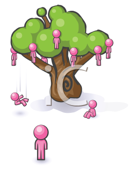Royalty Free Clipart Image of People Falling Off a Tree
