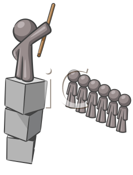 Royalty Free Clipart Image of a Guy Up On Blocks Talking to People