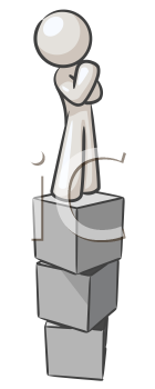 Royalty Free Clipart Image of a Person on Blocks Thinking
