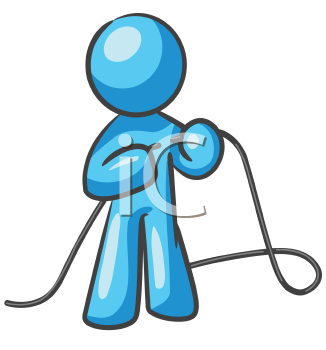 Royalty Free Clipart Image of a Guy Tying Rope