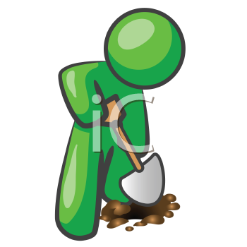 Royalty Free Clipart Image of a Green Man Digging