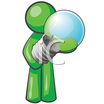 Royalty Free Clipart Image of a Green Man Holding a Light Bulb