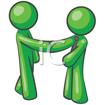 Royalty Free Clipart Image of Two Green Men Shaking Hands