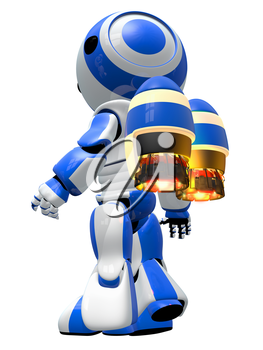 Robot rocketeer with jetpack, ready to take off and fly to new discoveries.