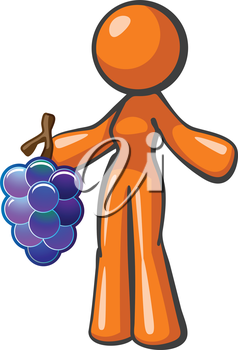 Royalty Free Clipart Image of a Woman Holding Grapes