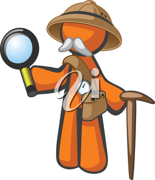 Royalty Free Clipart Image of a Man With a Moustache Holding a Cane and Magnifying Glass