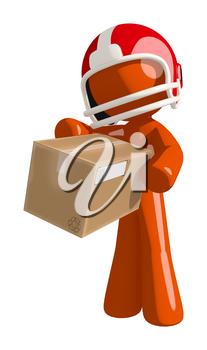 Football player orange man getting a box in the mail